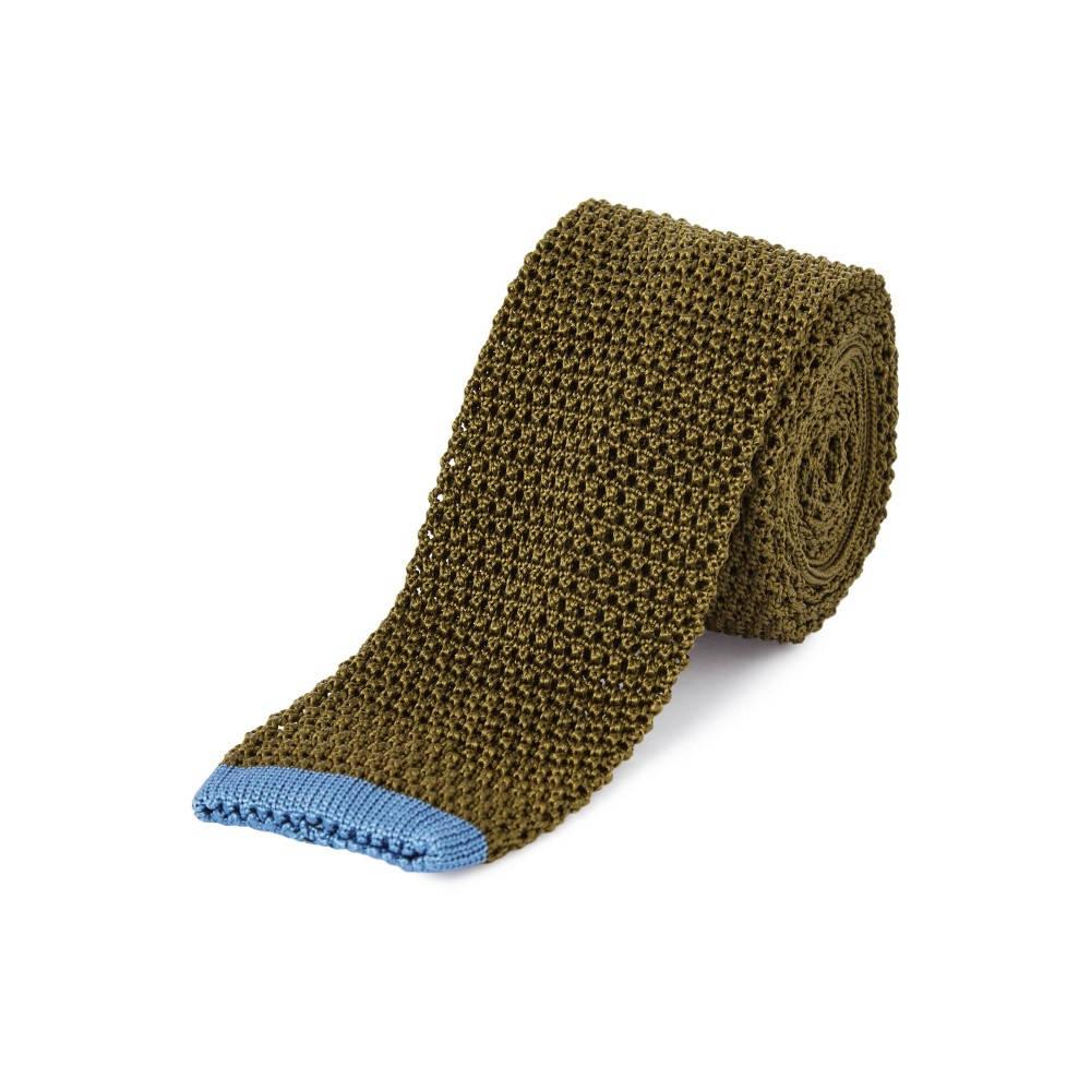 チェスター バリー メンズ ネクタイ【Plain Knitted Tie】olive