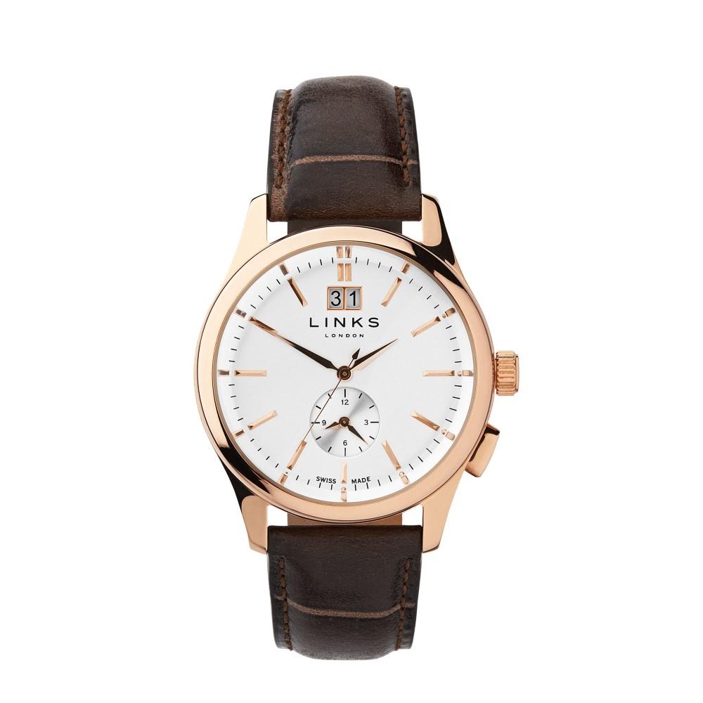リンクス オブ ロンドン メンズ 腕時計【Regent Chocolate Leather Strap Watch】