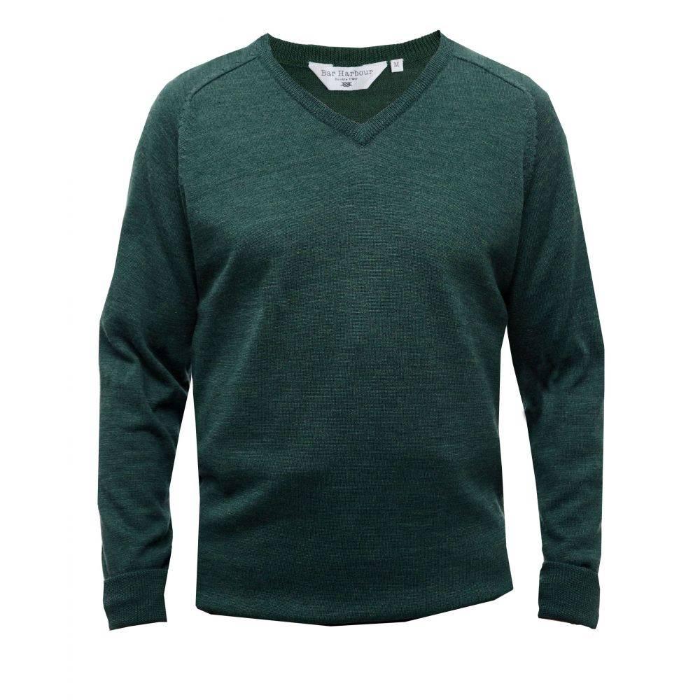 ダブルTWO メンズ トップス ニット・セーター【Long Sleeved V Neck Sweater】evergreen