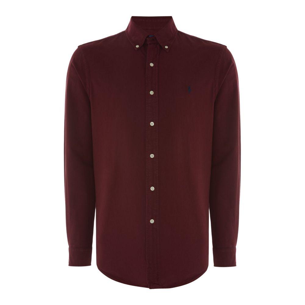 ラルフ ローレン メンズ トップス シャツ【Long Sleeve Garment Dye Oxford Custom Fit Shirt】burgundy