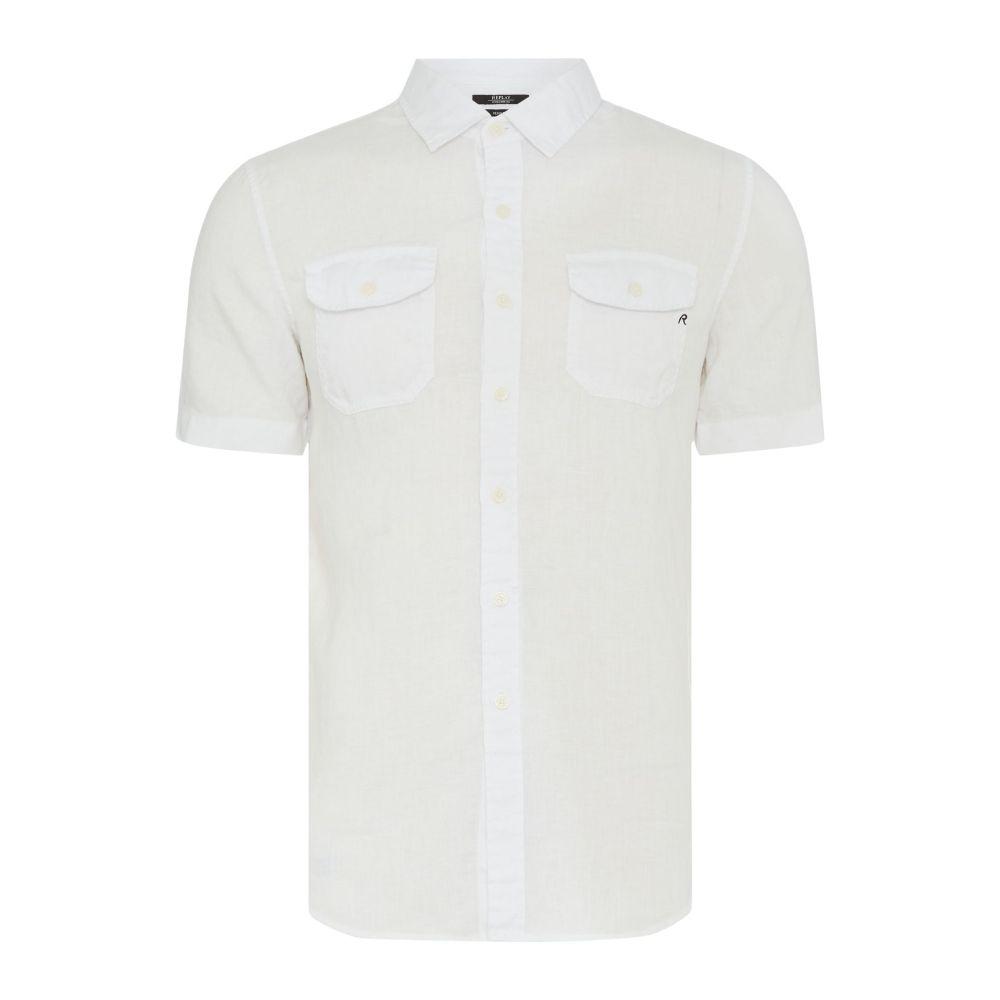 リプレイ メンズ トップス 半袖シャツ【Short-sleeve Cotton Shirt】white
