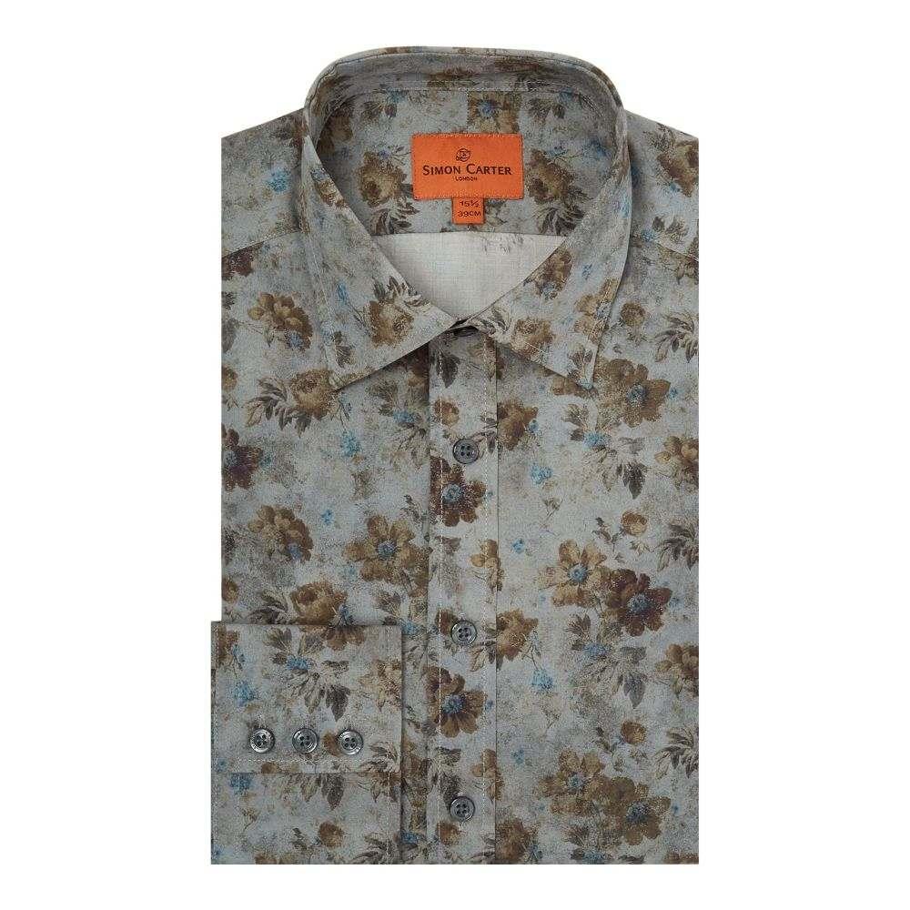 サイモン カーター メンズ トップス シャツ【Vintage Floral Shirt】blue