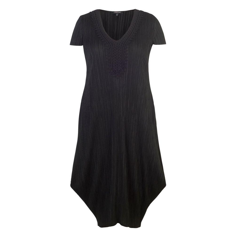 チェスカ レディース ワンピース・ドレス ワンピース【Lace Trim Crush Pleat Drape Dress】black