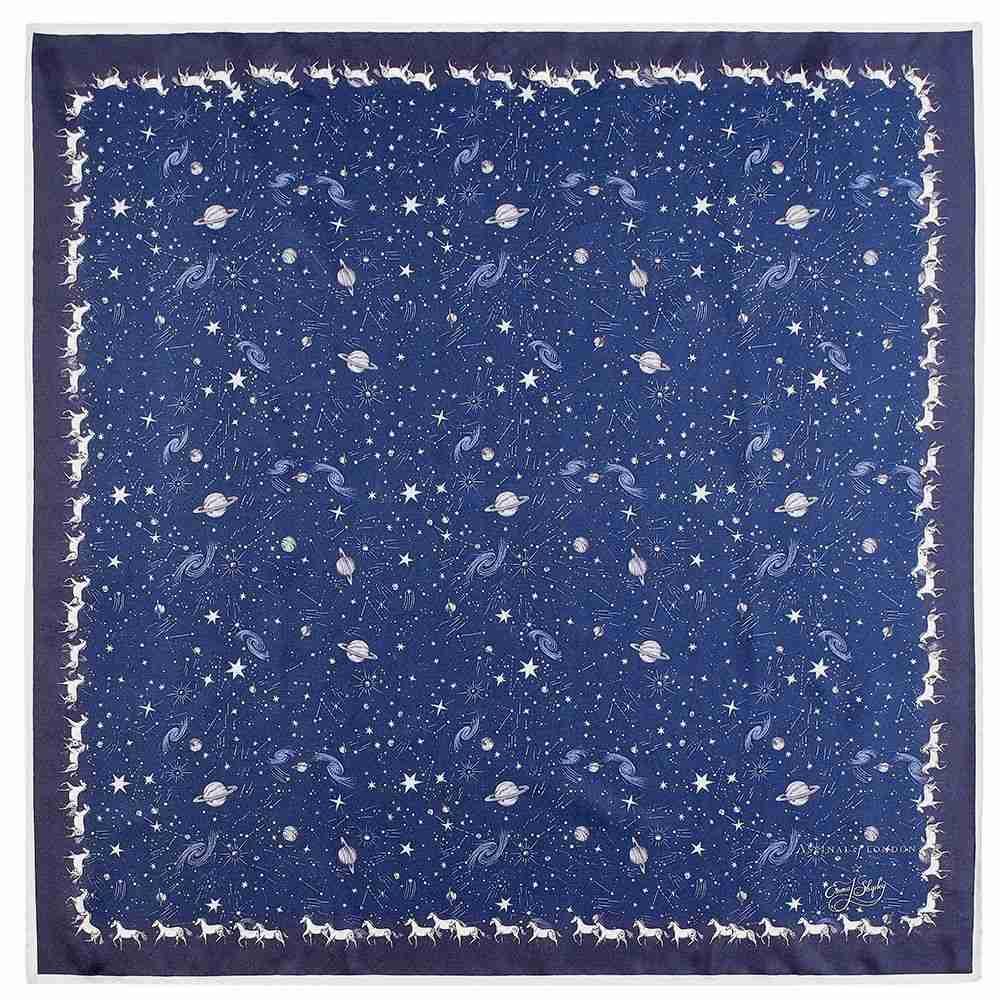 アスピナル オブ ロンドン レディース マフラー・スカーフ・ストール【Constellation Midnight Blue Silk Scarf】blue