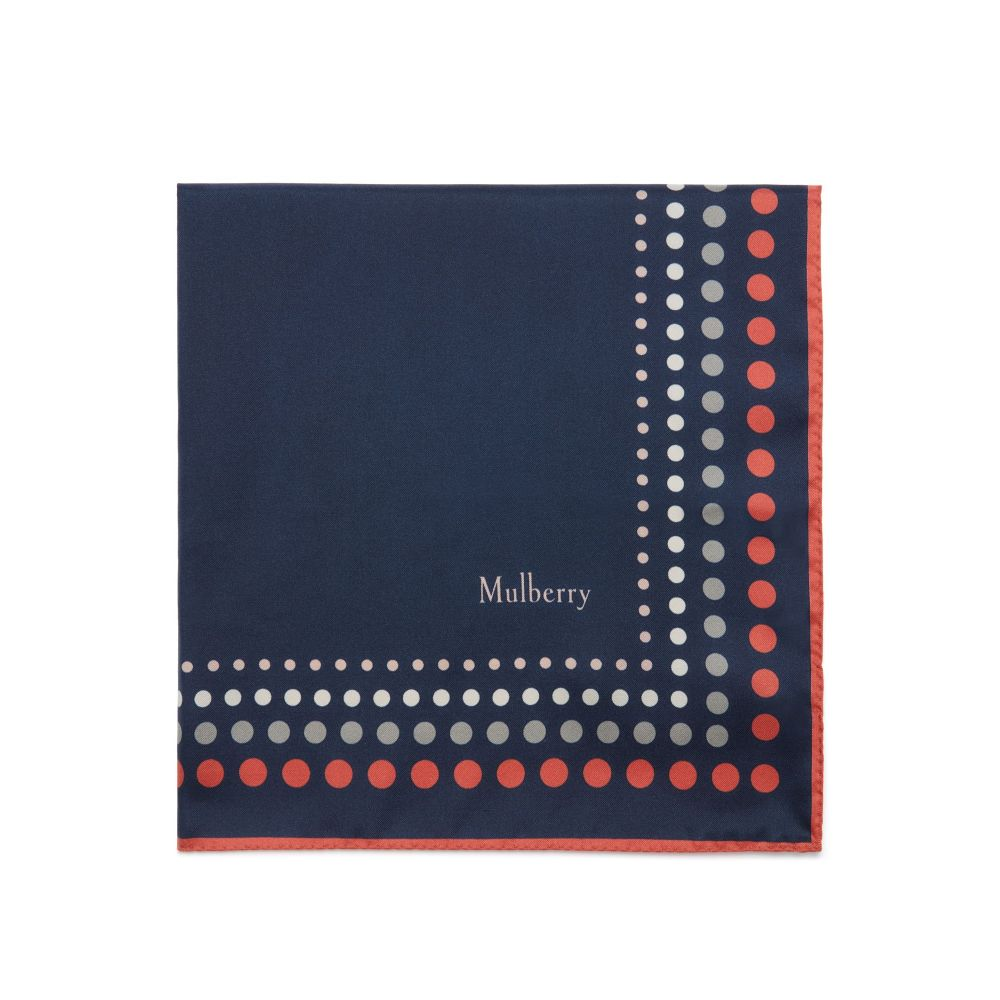 マルベリー レディース マフラー・スカーフ・ストール【Dots Frame Square Scarf】blue