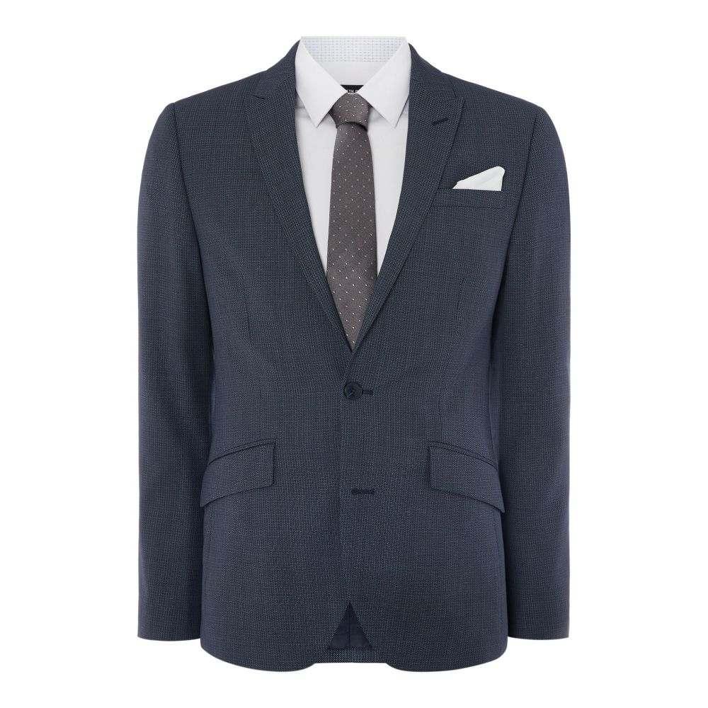 ケネス コール メンズ アウター スーツ・ジャケット【Boston Slim Fit Birdseye Suit Jacket】blue