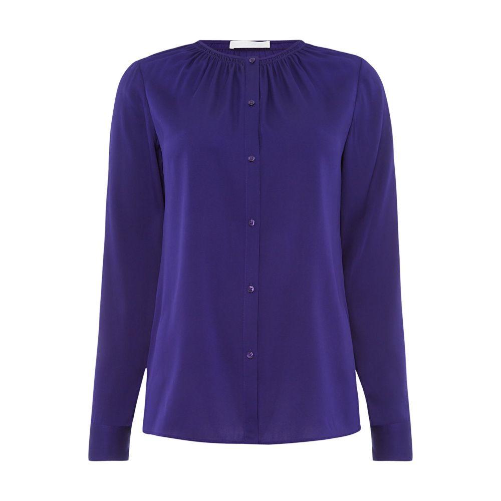 ヒューゴ ボス レディース トップス ブラウス・シャツ【Button Blouse With Ruched Neckline】purple