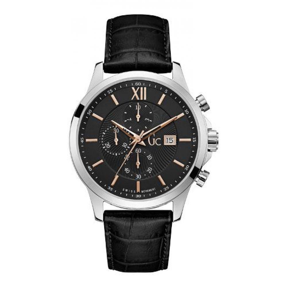 ゲス メンズ 腕時計【Leather Strap Watch】silver