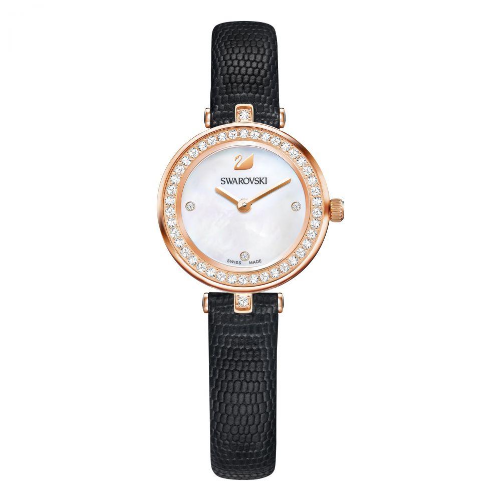 スワロフスキー レディース 腕時計【Aila Dressy Mini Watch, Leather Strap, Black, Ros】white