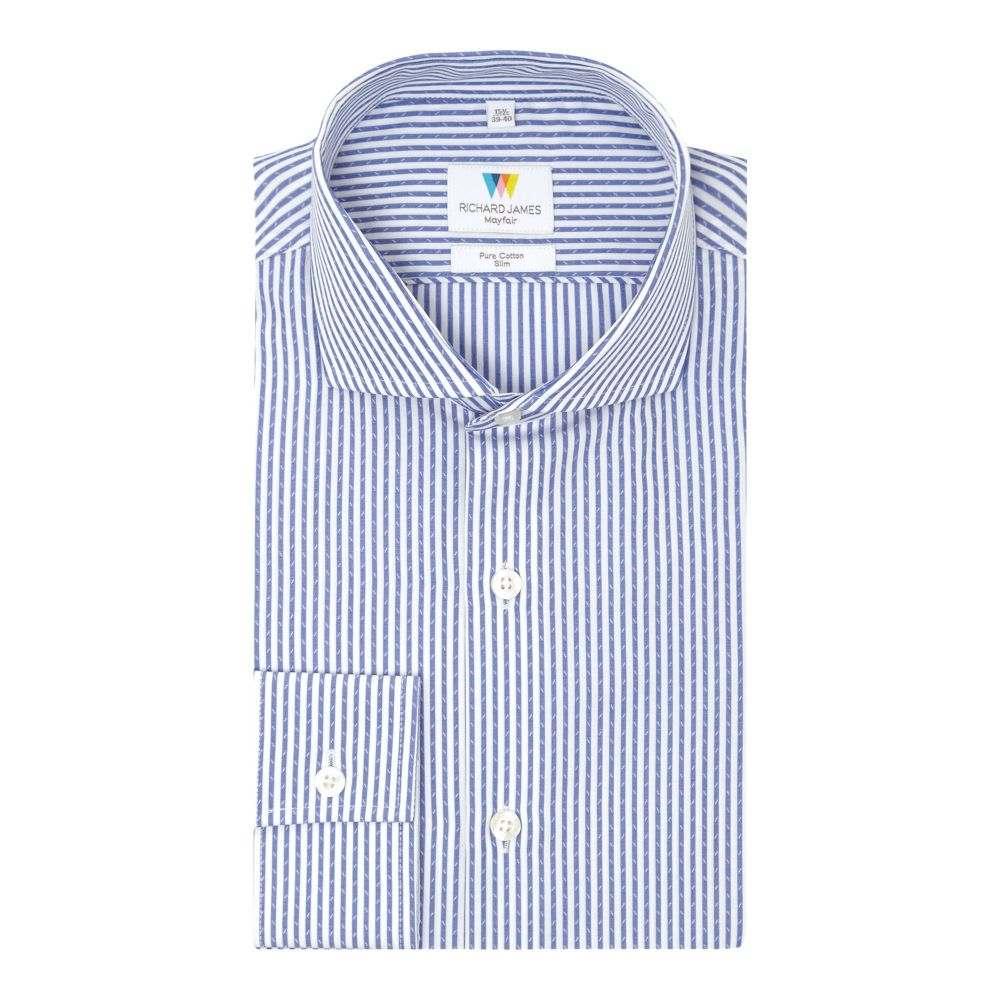 リチャード ジェームス メンズ トップス シャツ【Dash Dobby Stripe Slim Fit Shirt】navy