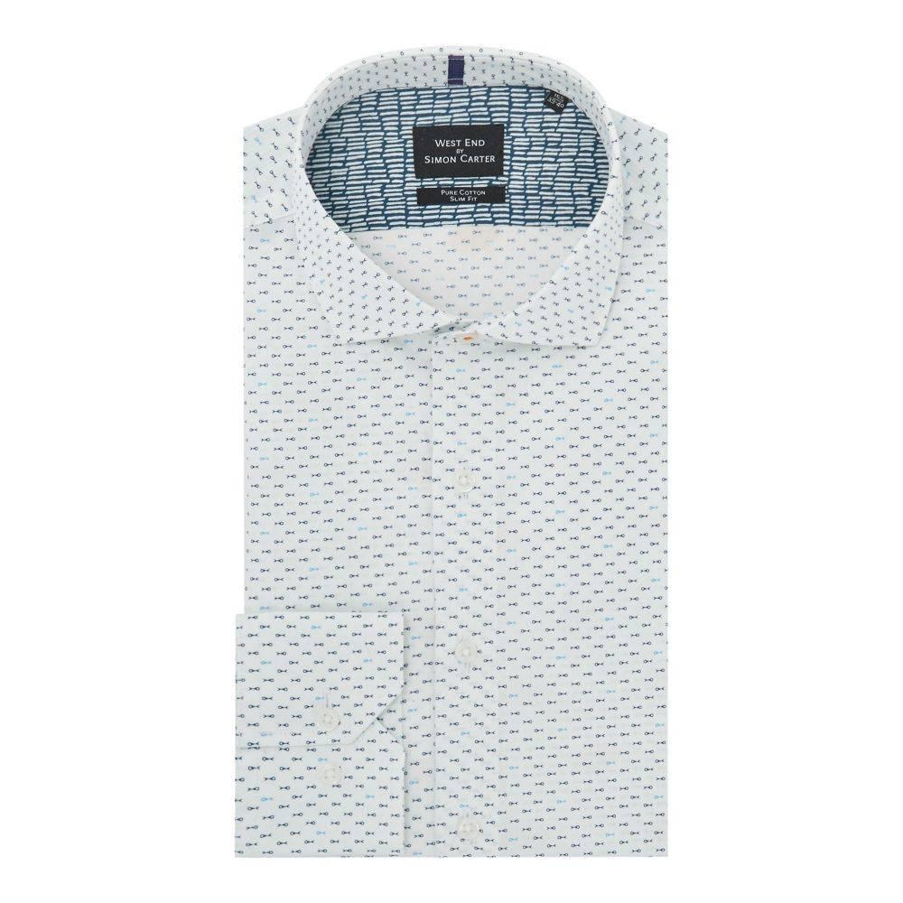 サイモン カーター メンズ トップス シャツ【Mini Fish Print Shirt】blue