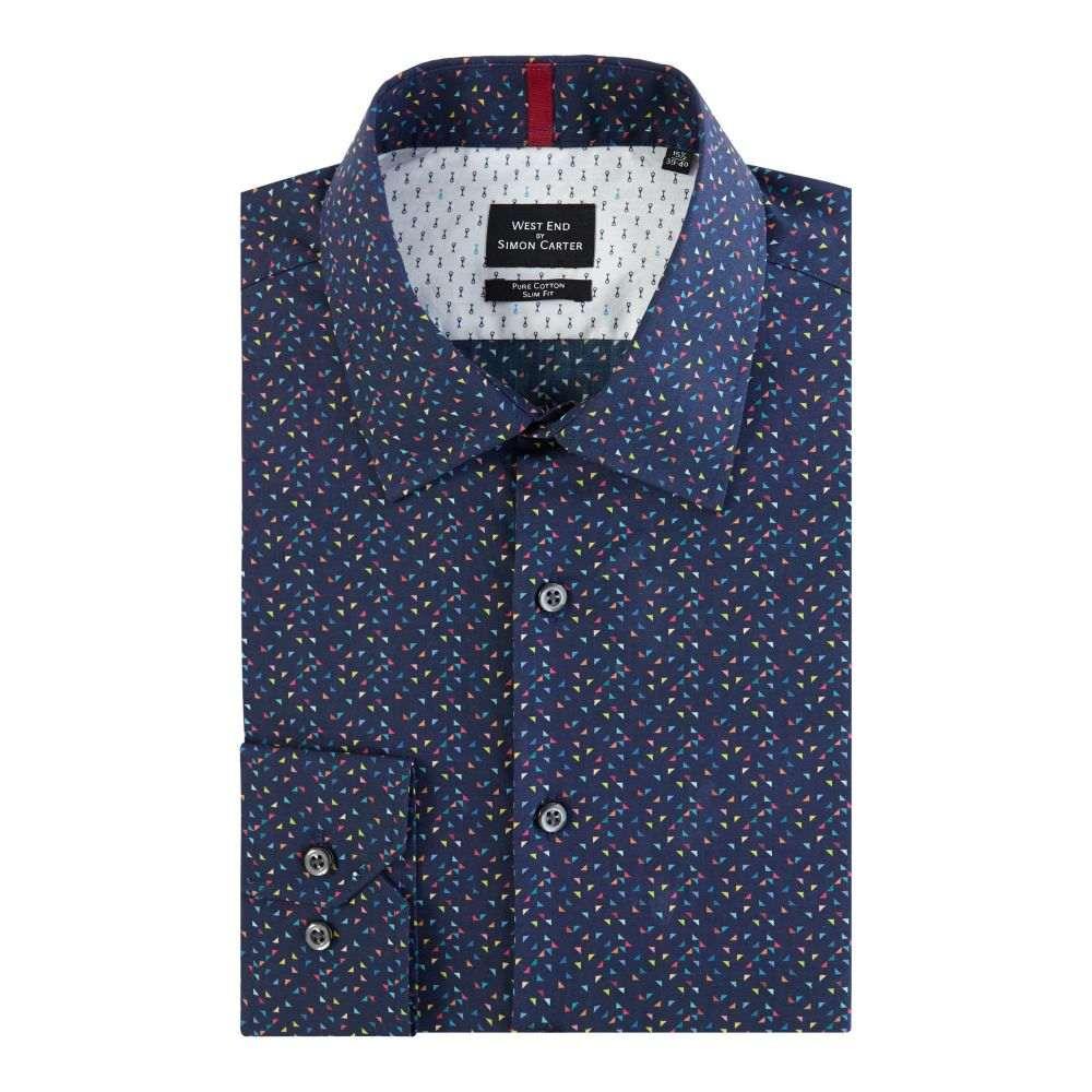 サイモン カーター メンズ トップス シャツ【Triangle Print Shirt】navy