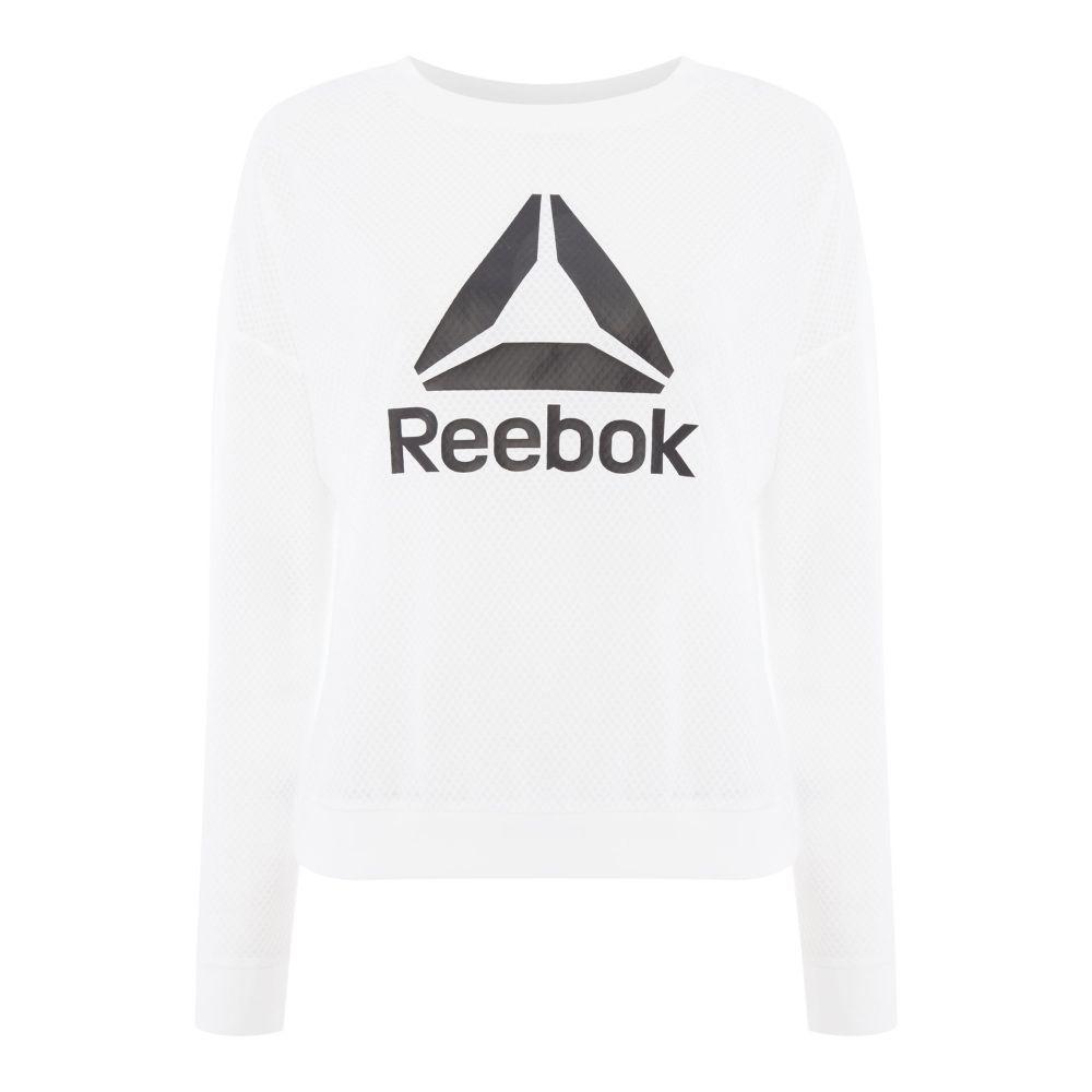 リーボック レディース フィットネス・トレーニング トップス【Mesh Logo Crew】white
