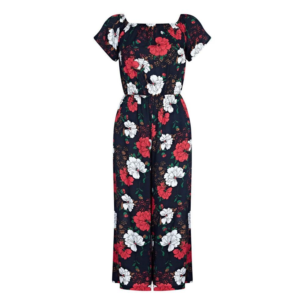 ユミ レディース ワンピース・ドレス オールインワン【Floral Print Culottes Jumpsuit】navy