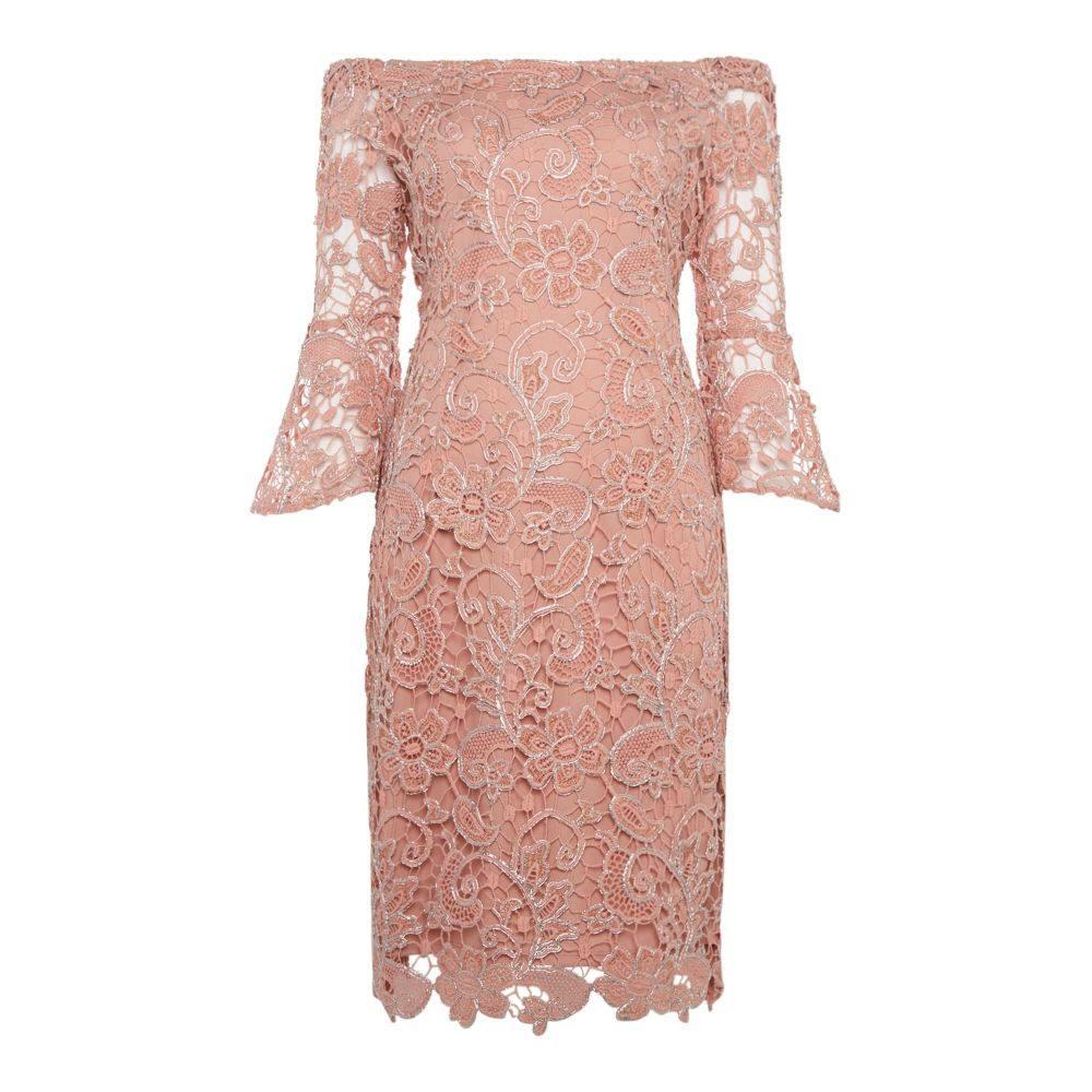 マリナ レディース ワンピース・ドレス ワンピース【Off Shoulder Shift Dress With Flare Sleeve】blush