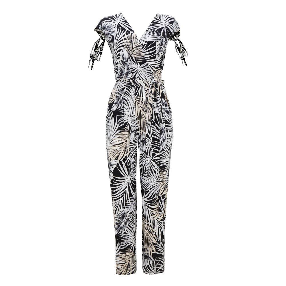 ウォリス レディース ワンピース・ドレス オールインワン【Petite Palm Print Jumpsuit】black