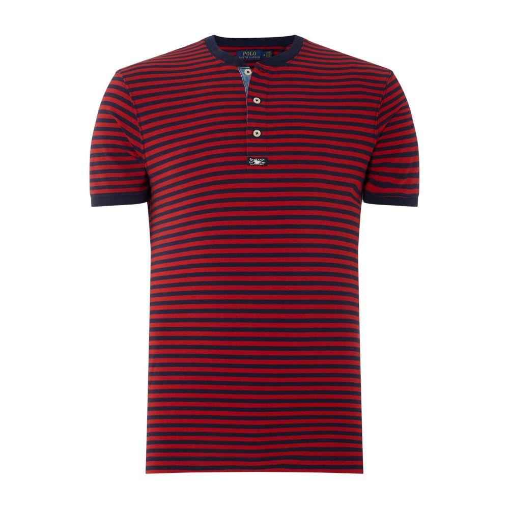ラルフ ローレン メンズ トップス Tシャツ【Henley Stripe T-shirt】navy & red