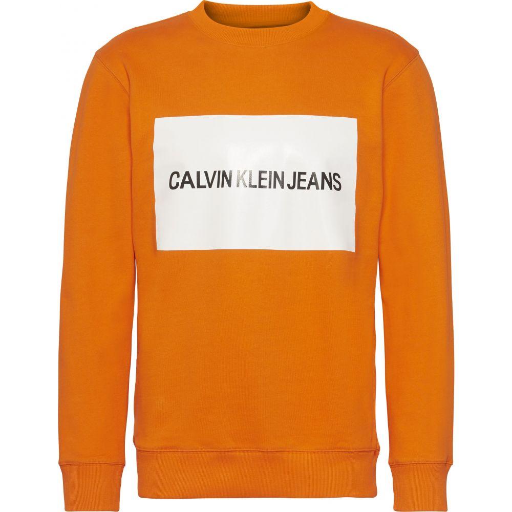カルバンクライン メンズ トップス スウェット・トレーナー【Calvin Klein Jeans Box Logo Sweatshirt】orange