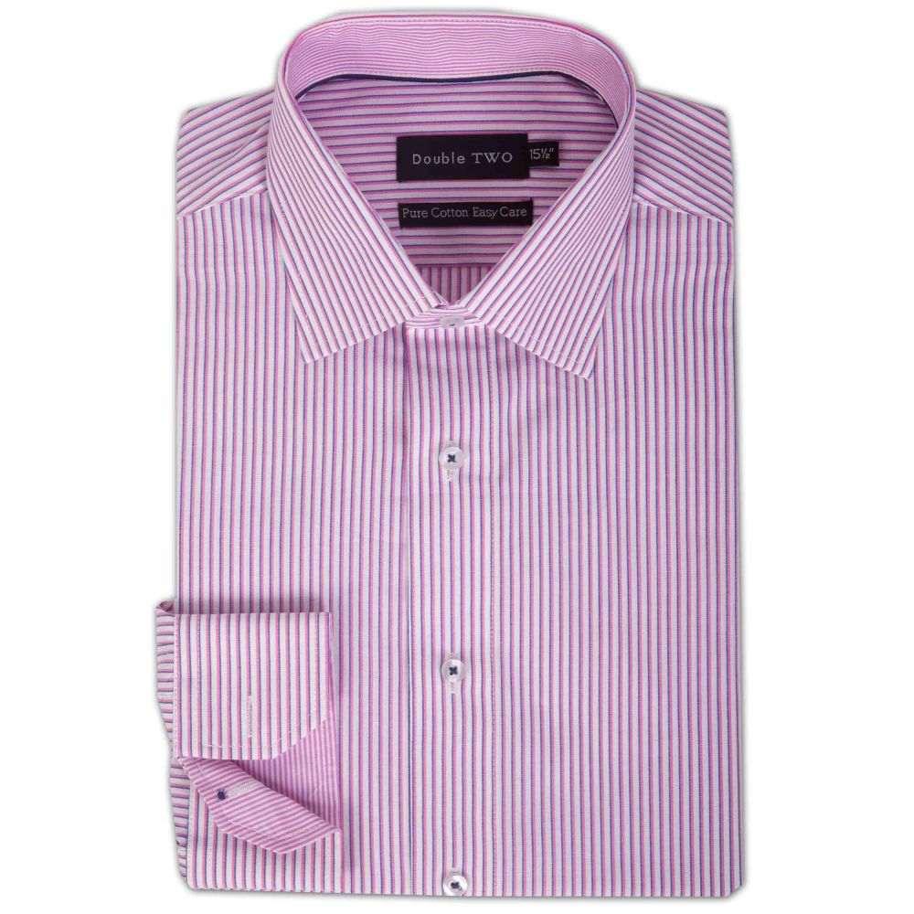 ダブルTWO メンズ トップス シャツ【100% Cotton Contrast Stripe Formal Shirt】pale pink