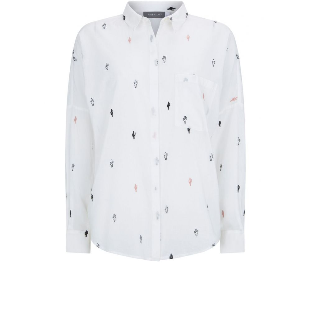 ミルトン ベルベット レディース トップス ブラウス・シャツ【Cactus Embroidered Shirt】ivory