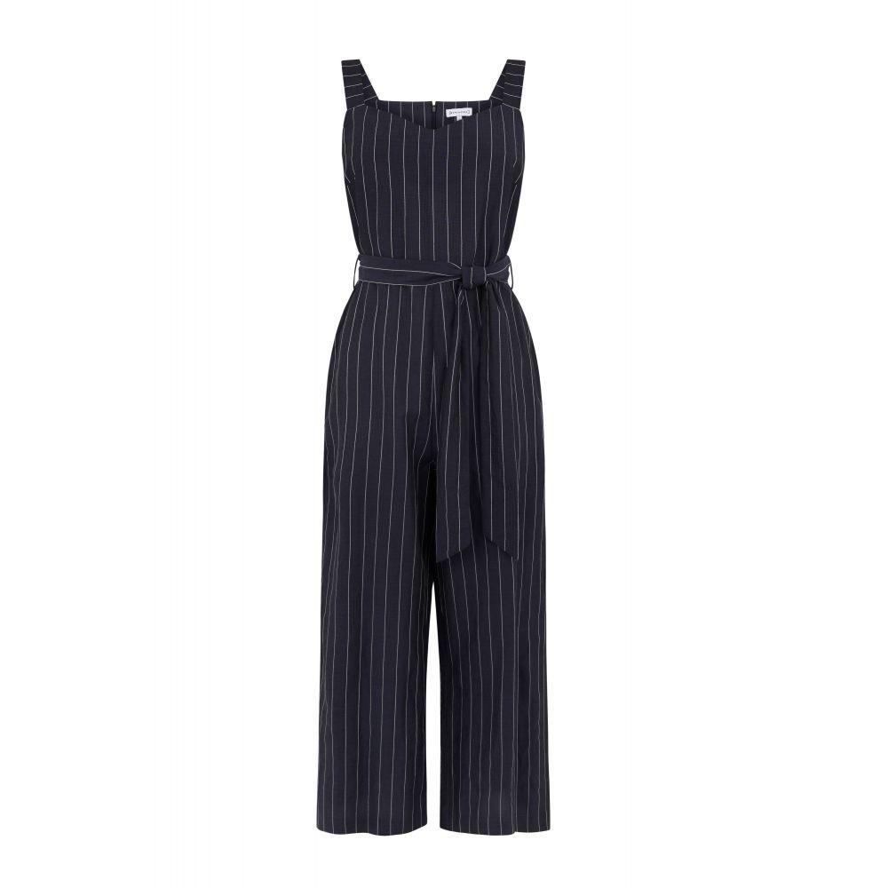 ウェアハウス レディース ワンピース・ドレス オールインワン【Linen Pinstripe Jumpsuit】navy