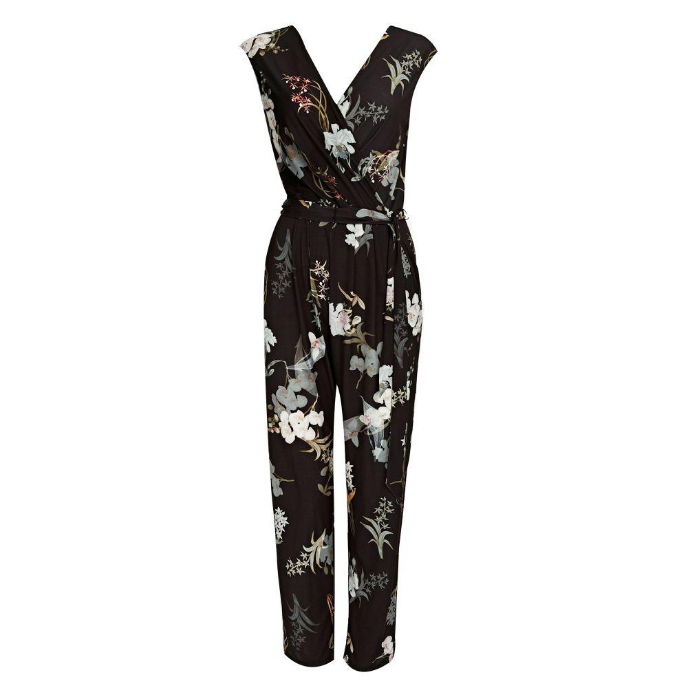 ウォリス レディース ワンピース・ドレス オールインワン【Petite Black Oriental Blossom Jumpsuit】black