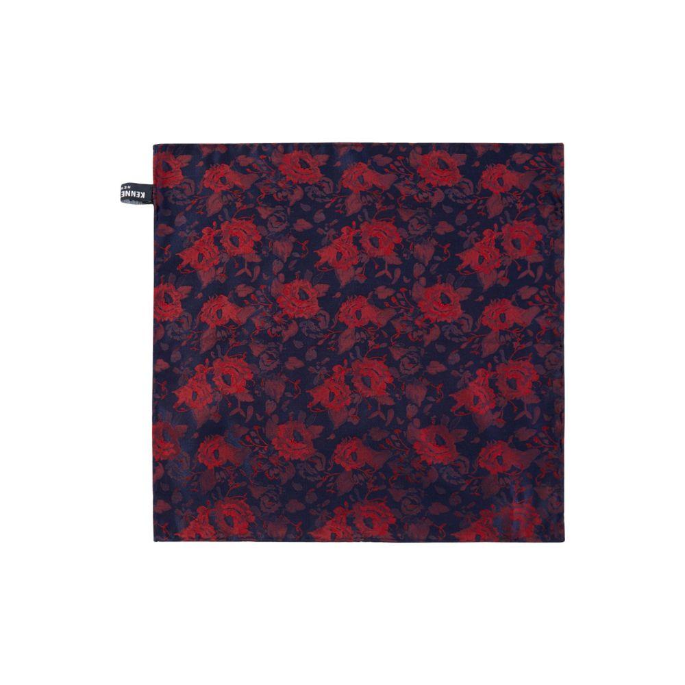 ケネス コール メンズ ハンカチ・チーフ【Beasley Floral Woven Pocket Square】burgundy