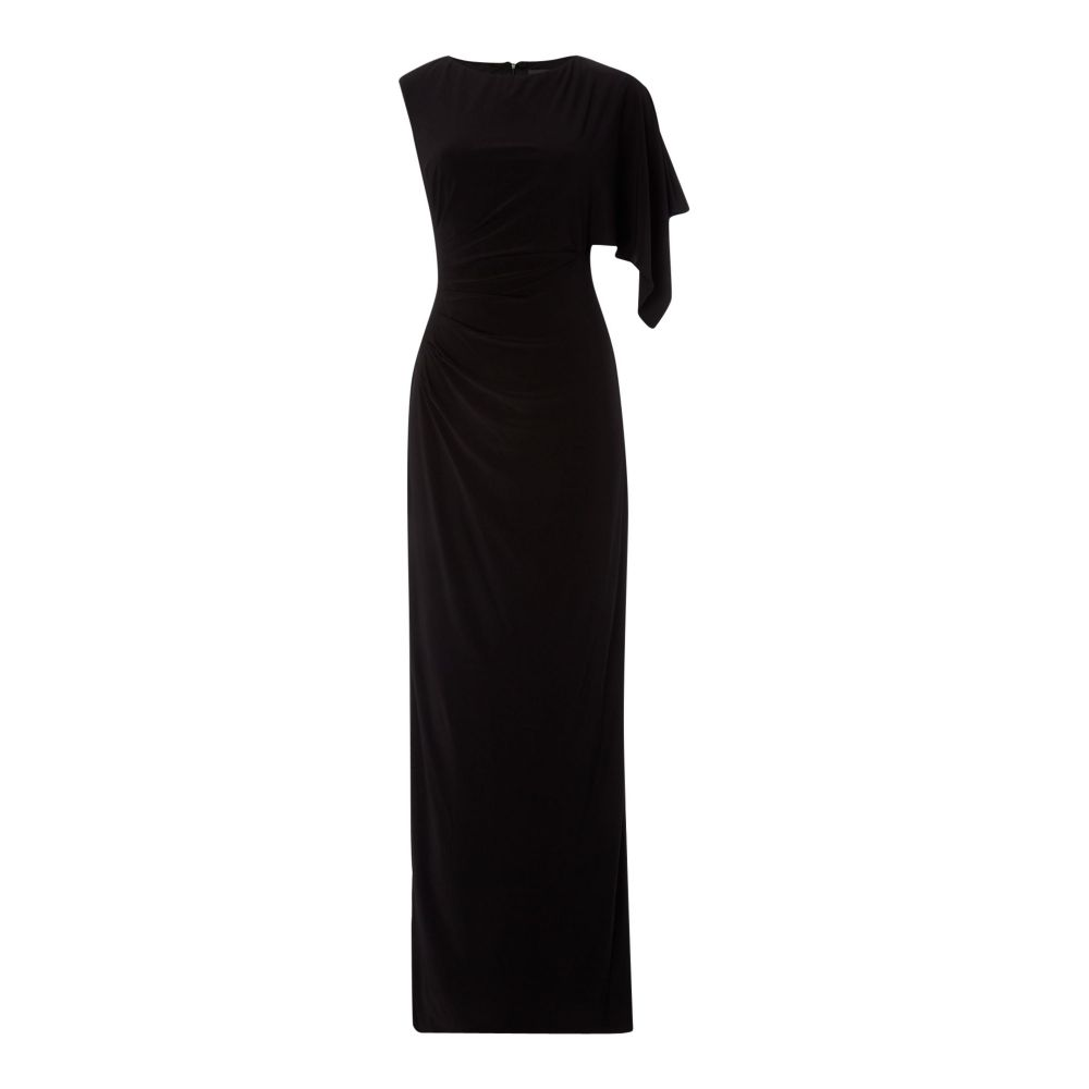アドリアナ パペル Adrianna Papell レディース ワンピース・ドレス パーティードレス【One Shoulder Frill Sleeve Gown】black