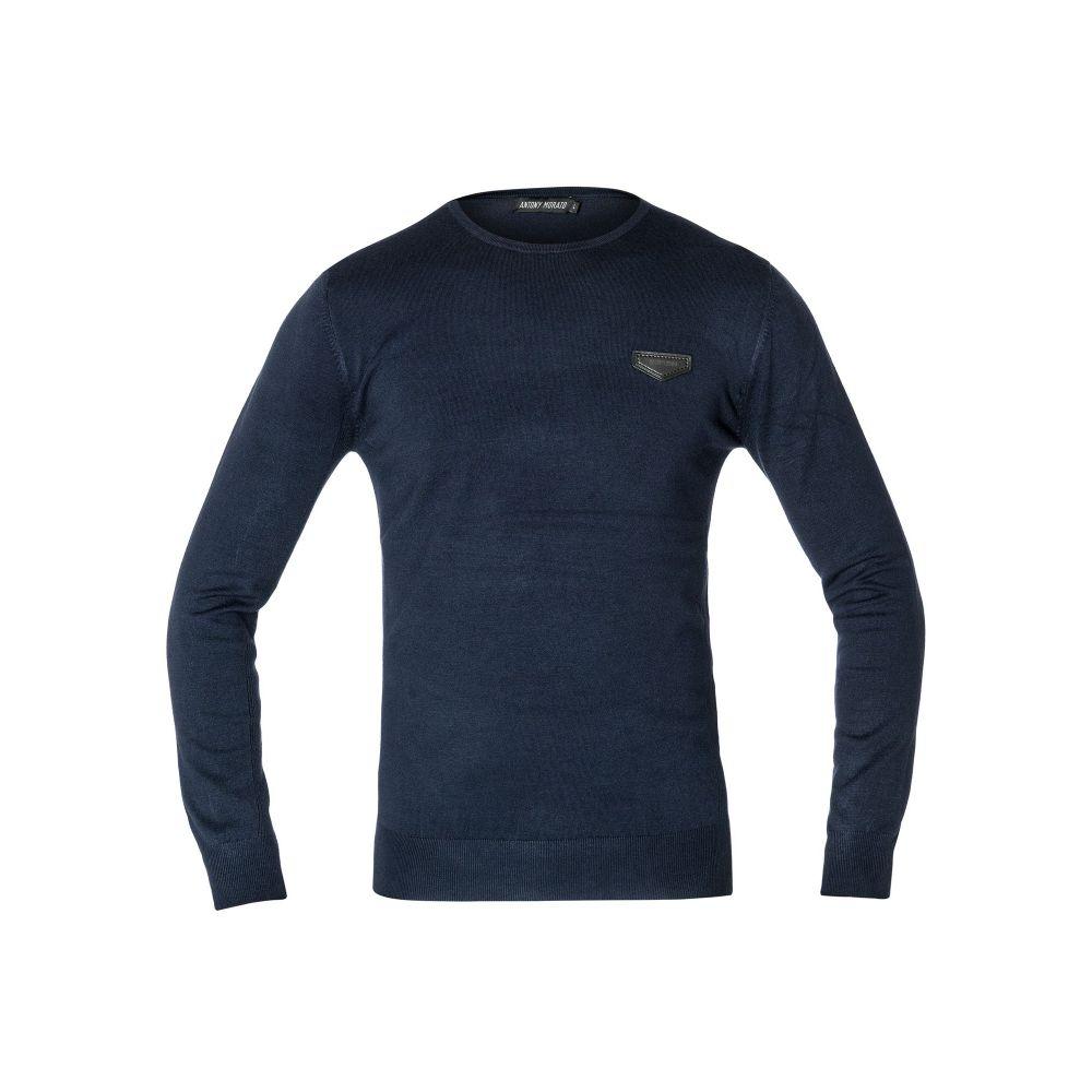 アントニー モラート Antony Morato メンズ トップス ニット・セーター【Crew-neck Sweater With Faux-leather Patch】blue