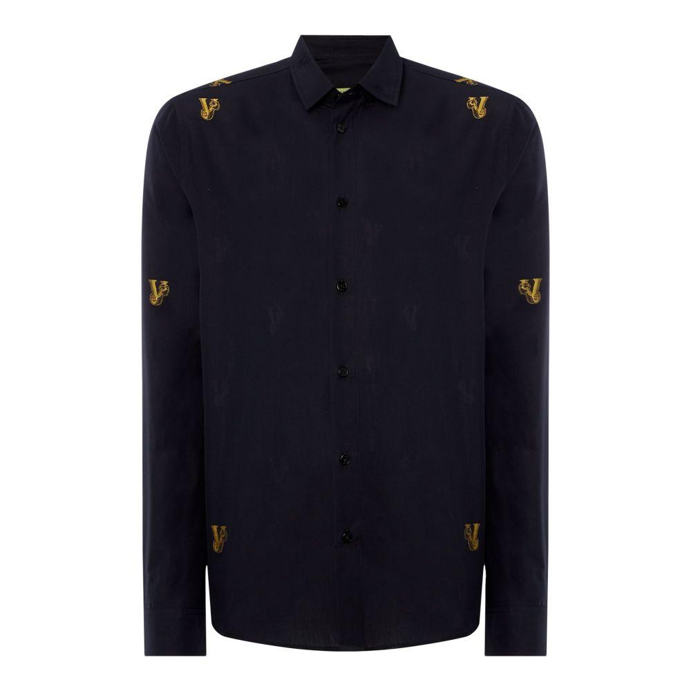 ヴェルサーチ Versace Jeans メンズ トップス シャツ【All Over Lurex Logo Shirt】black