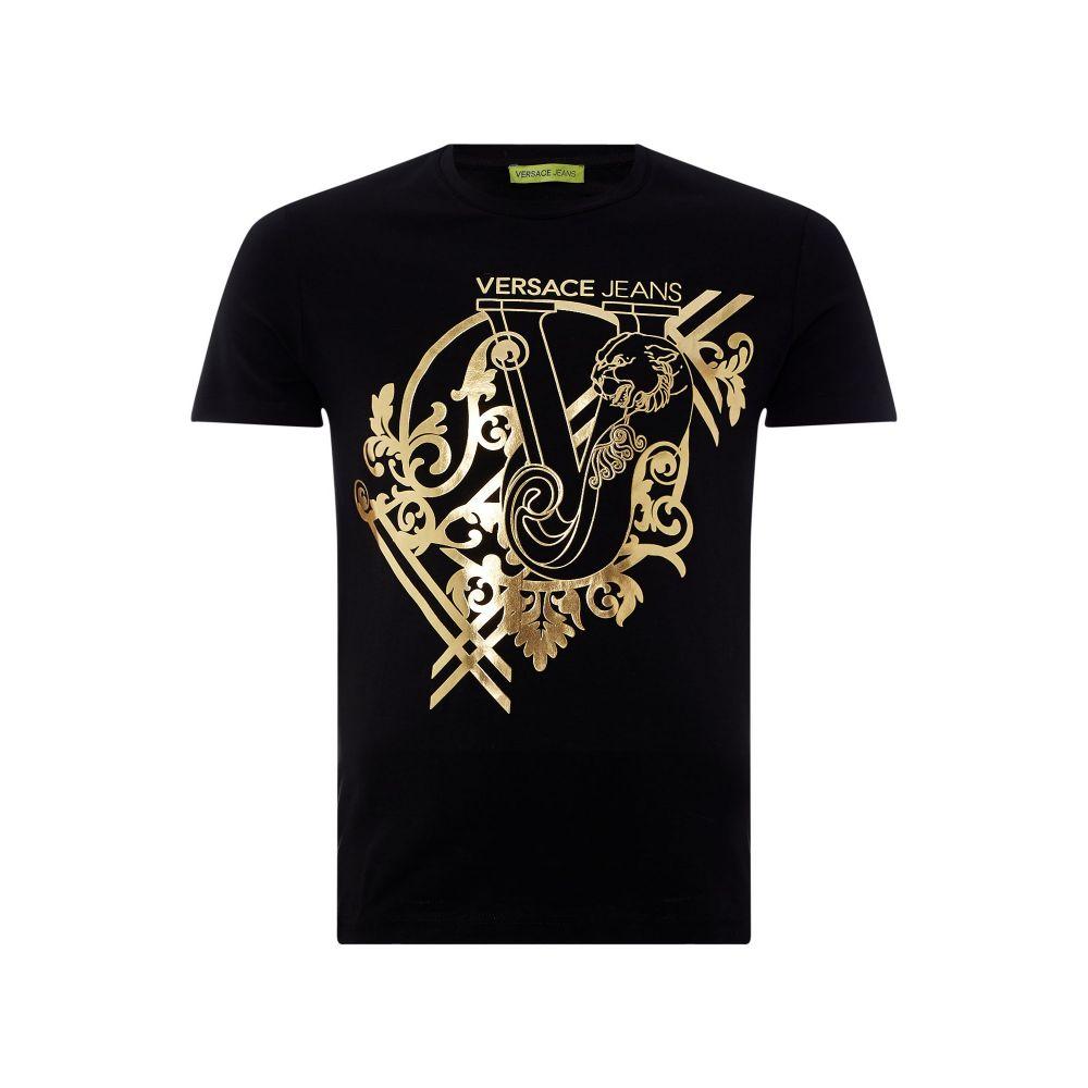 ヴェルサーチ Versace Jeans メンズ トップス Tシャツ【Large Foil Logo T-shirt】black