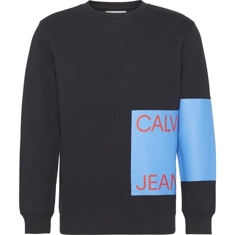 カルバンクライン Calvin Klein メンズ トップス スウェット・トレーナー【Ckjeans Logo Black Sweater】black & blue