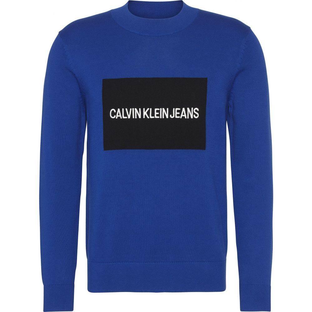 カルバンクライン Calvin Klein メンズ トップス スウェット・トレーナー【Ckjeans Box Logo Sweater】sea blue