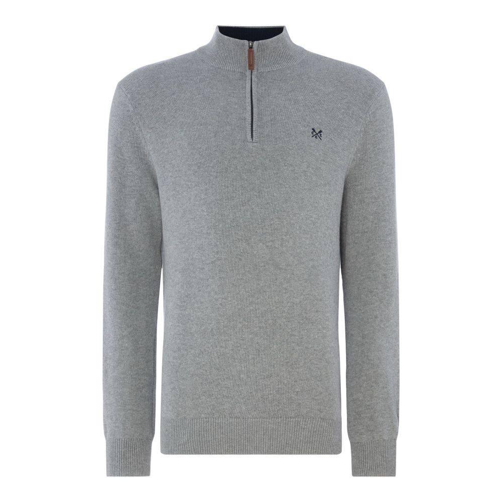 クルークロッシング Crew Clothing メンズ トップス ニット・セーター【Company Half Zip Knit】grey marl