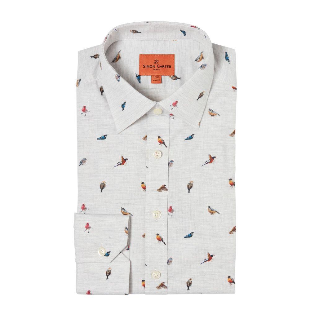 サイモン カーター Simon Carter メンズ トップス シャツ【Bird Print Shirt】grey
