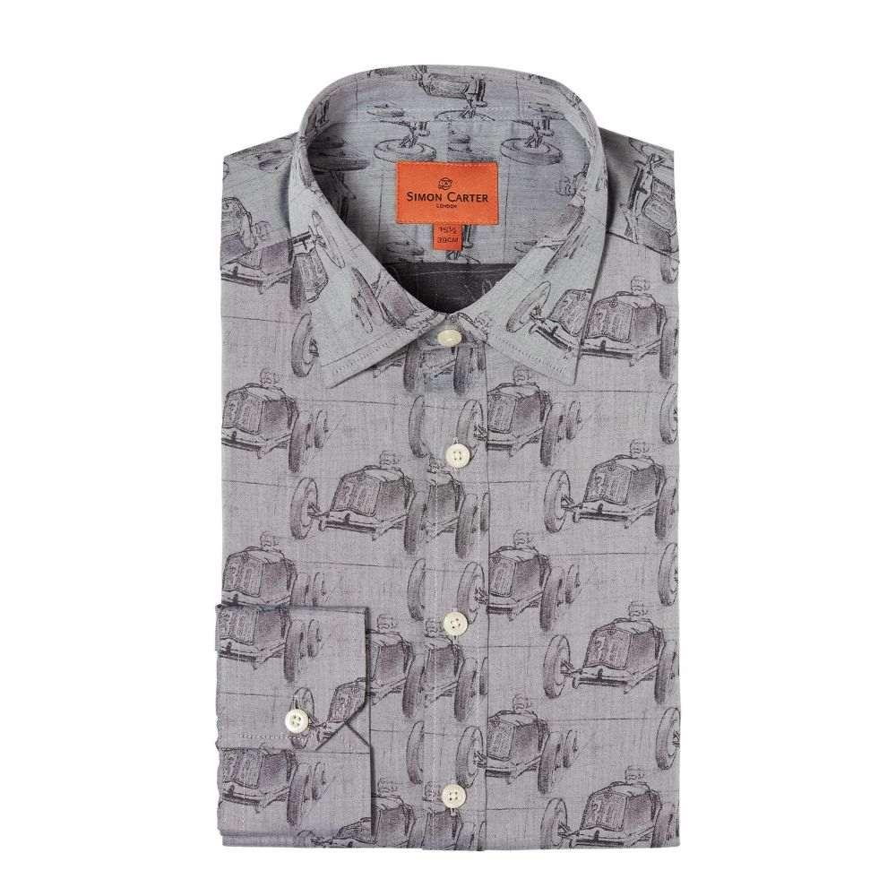 サイモン カーター Simon Carter メンズ トップス シャツ【Vintage Car Jacquard Shirt】grey