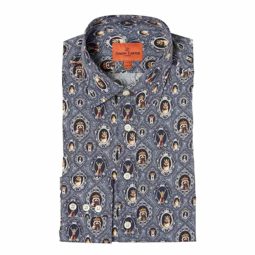サイモン カーター Simon Carter メンズ トップス シャツ【Crowned Animals Print Shirt】navy