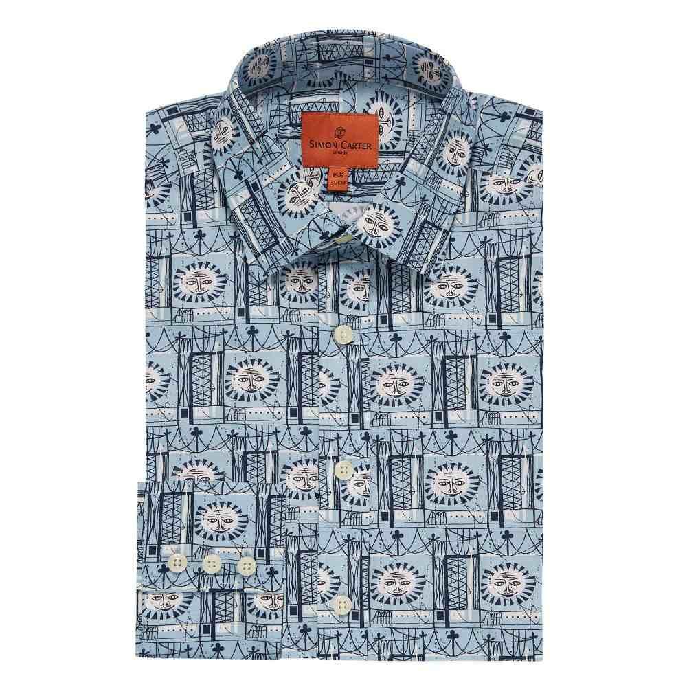 サイモン カーター Simon Carter メンズ トップス シャツ【Liberty Exclusive Sun Man Print Shirt】sky