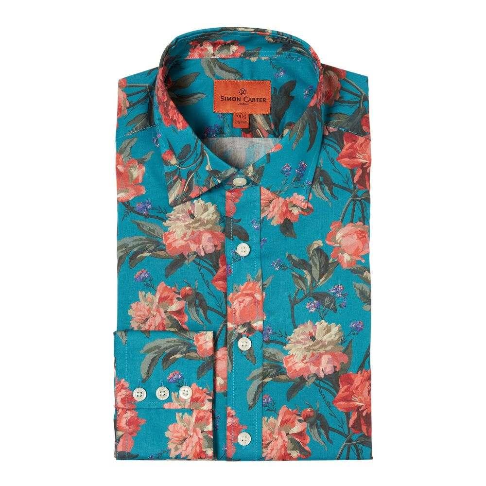 サイモン カーター Simon Carter メンズ トップス シャツ【Liberty Decadence Blooms Print Shirt】teal