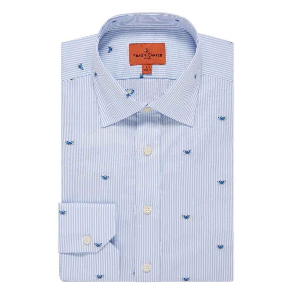 サイモン カーター Simon Carter メンズ トップス シャツ【Butterfly Stripe Jacquard Shirt】sky