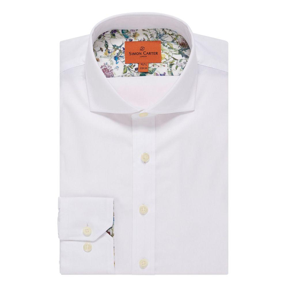 サイモン カーター Simon Carter メンズ トップス シャツ【White Oxford Plain Shirt】white