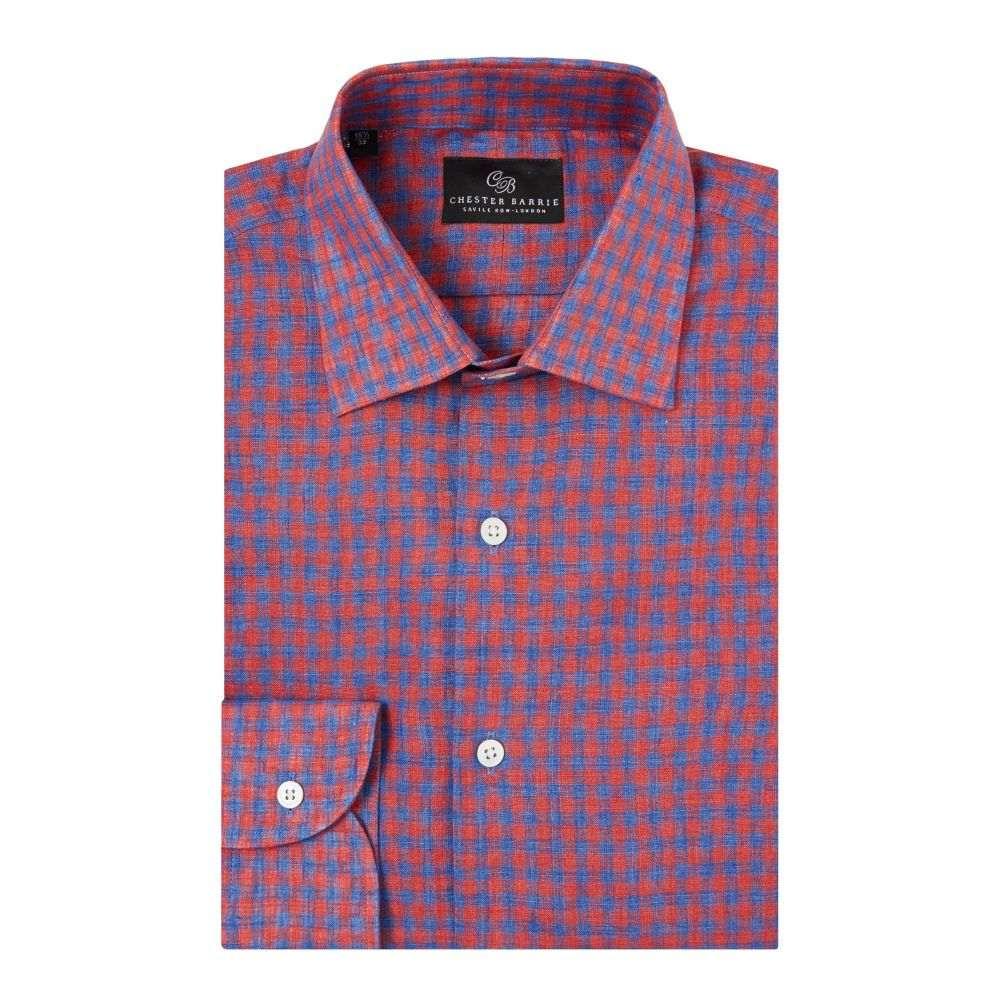 チェスター バリー Chester Barrie メンズ トップス シャツ【Coloured Gingham Linen Shirt】red