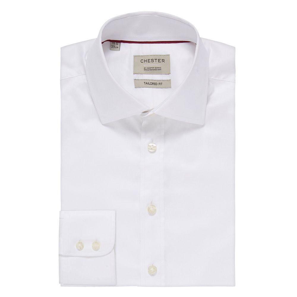 チェスター バリー Chester Barrie メンズ トップス シャツ【Stretch Twill Tailored Fit Shirt】white