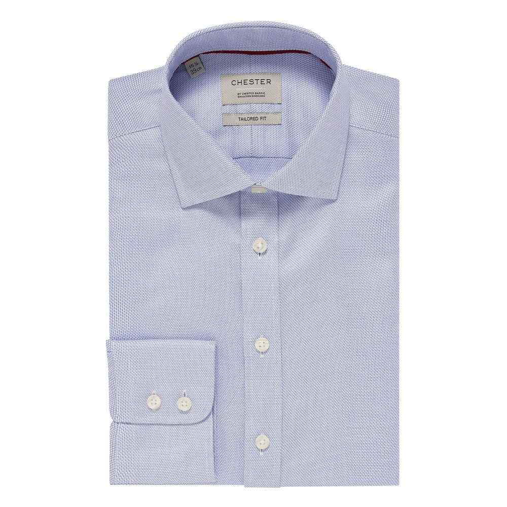 チェスター バリー Chester Barrie メンズ トップス シャツ【Zig Zag Tailored Fit Shirt】blue