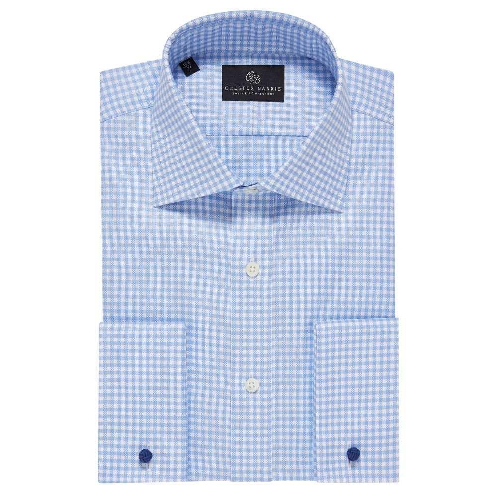 チェスター バリー Chester Barrie メンズ トップス シャツ【Oxford Gingham Check Shirt】sky