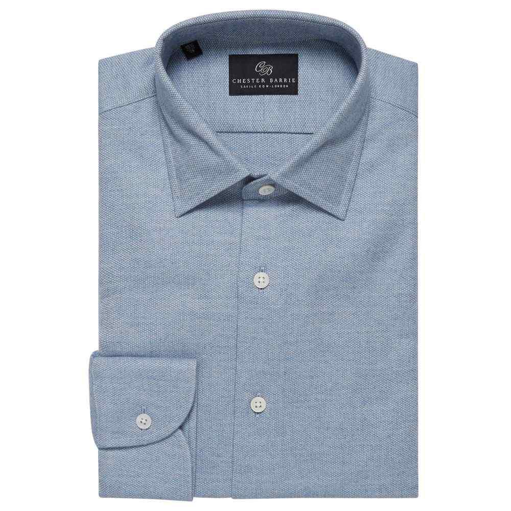 チェスター バリー Chester Barrie メンズ トップス シャツ【Textured Flannel Shirt】blue