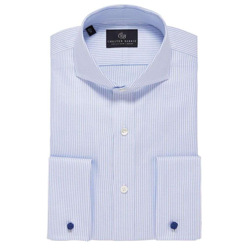 チェスター バリー Chester Barrie メンズ トップス シャツ【Fine Oxford Stripe Shirt】sky