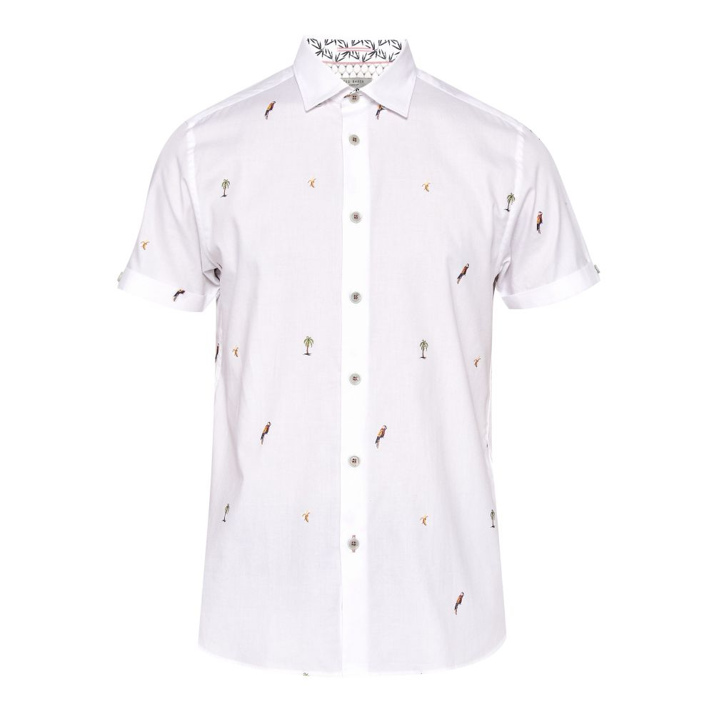 テッドベーカー Ted Baker メンズ トップス シャツ【Parcoop Parrot Filcoupe Cotton Shirt】white