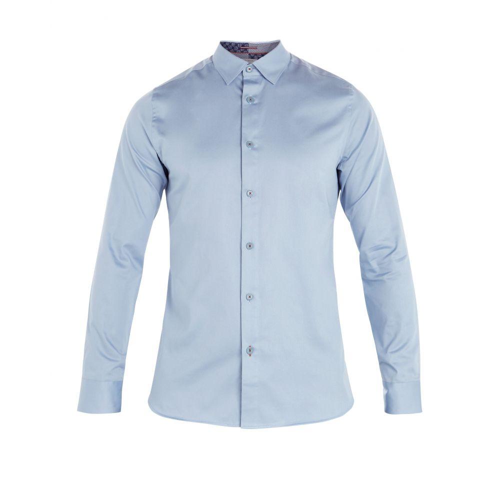 テッドベーカー Ted Baker メンズ トップス シャツ【Plateen Ls Satin Strech Shirt】blue