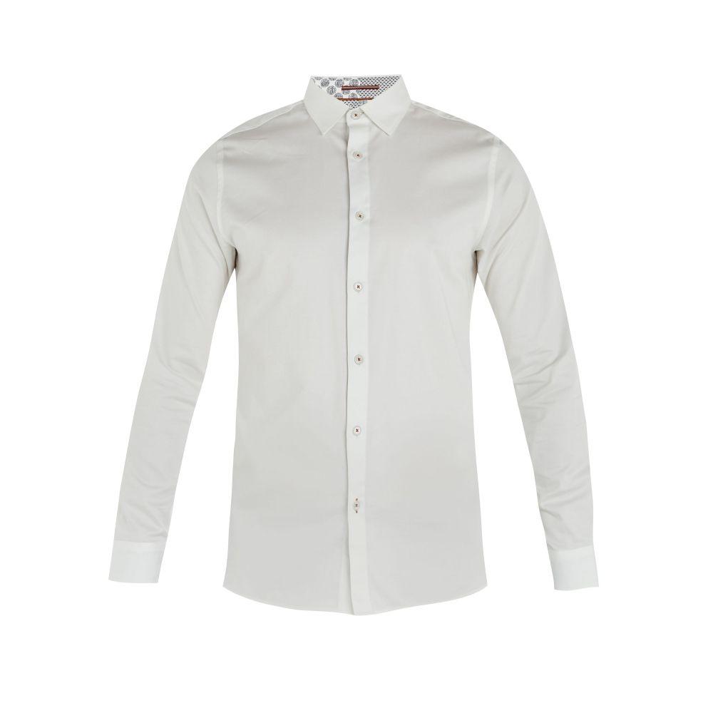 テッドベーカー Ted Baker メンズ トップス シャツ【Plateen Ls Satin Strech Shirt】white